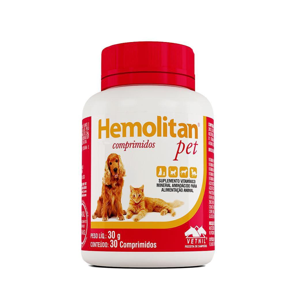 Suplemento vetnil hemolitan pet para cães e gatos com 30 comprimidos