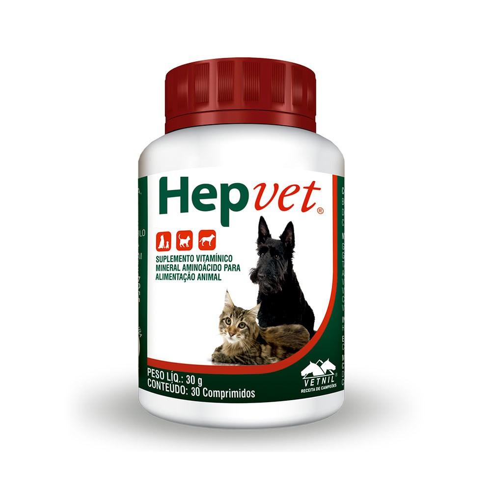 Suplemento vetnil hepvet comprimidos para cães e gatos 30g