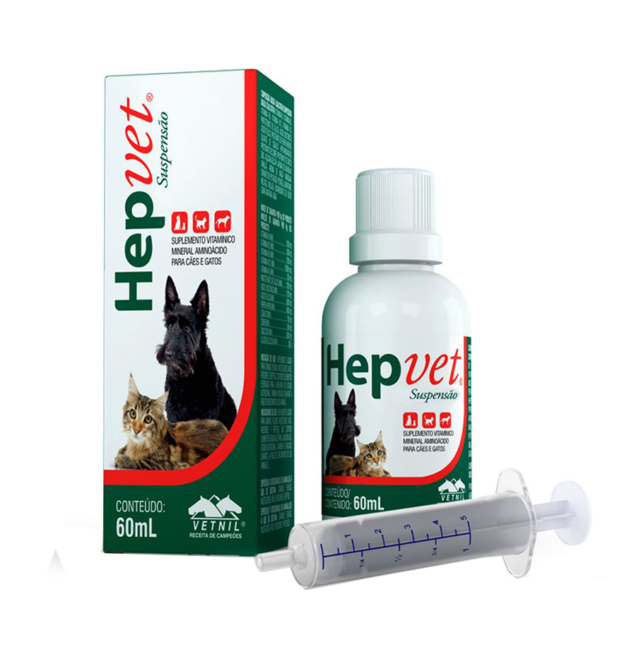 Suplemento vetnil hepvet suspensão para cães e gatos 60ml