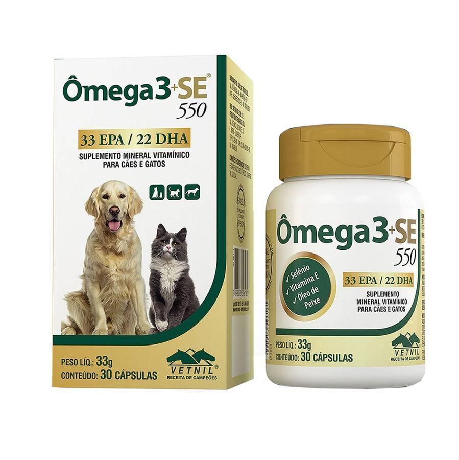 Suplemento vitamínico vetnil omega 3+se 550 33g para cães e gatos com 30 cápsulas