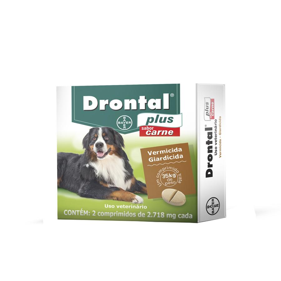 Vermífugo bayer drontal plus 2,718mg carne para cães de 35kg com 2 comprimidos