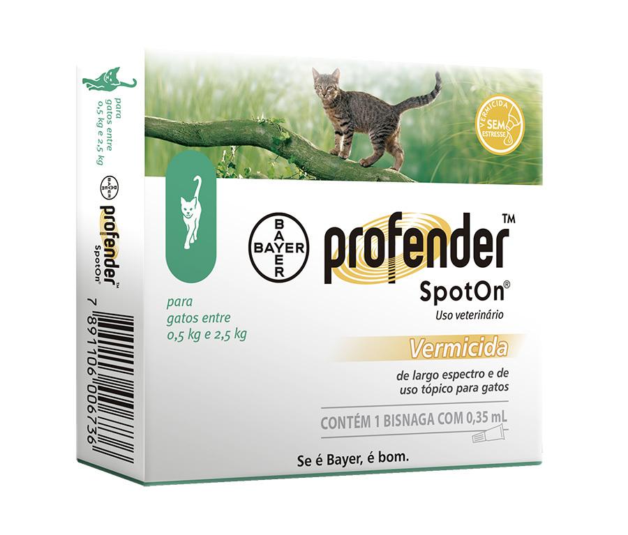 Vermífugo bayer profender spoton para gatos de 0.5 a 2.5kg
