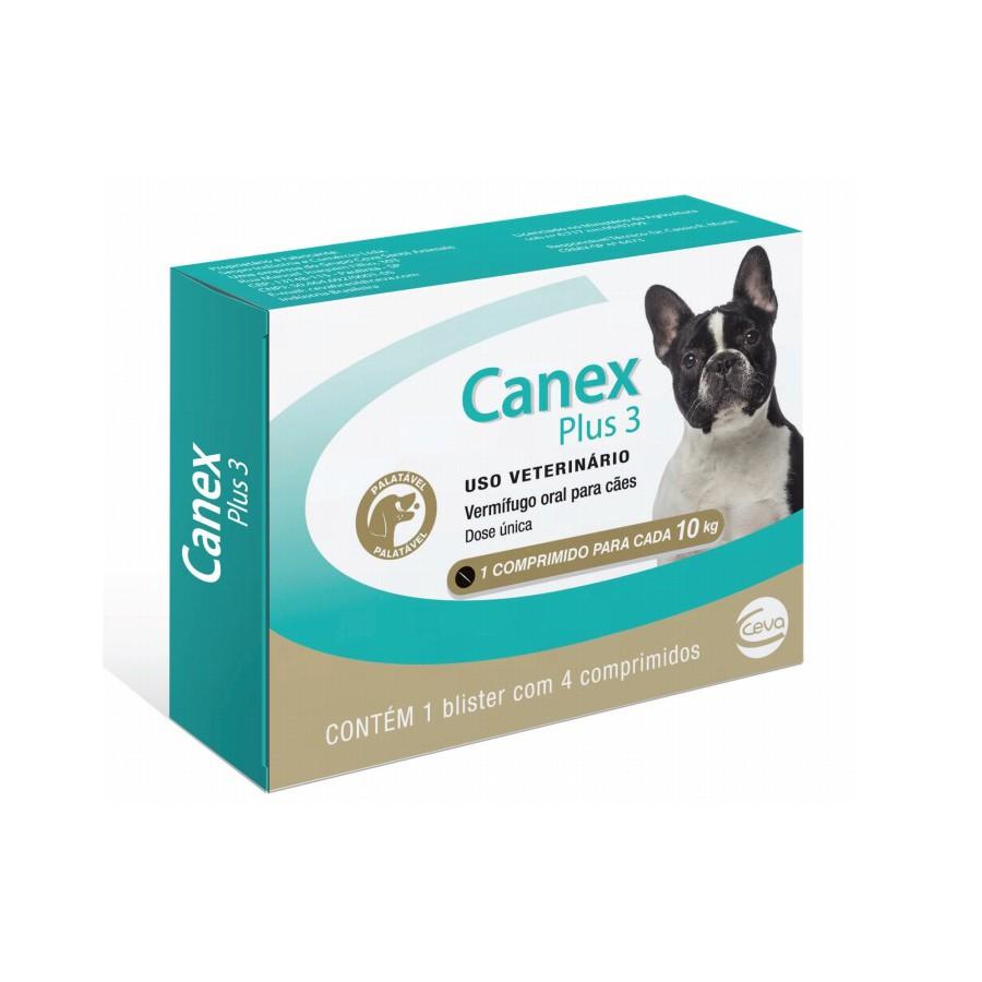 Vermífugo ceva canex plus 3 para cães com 4 comprimidos