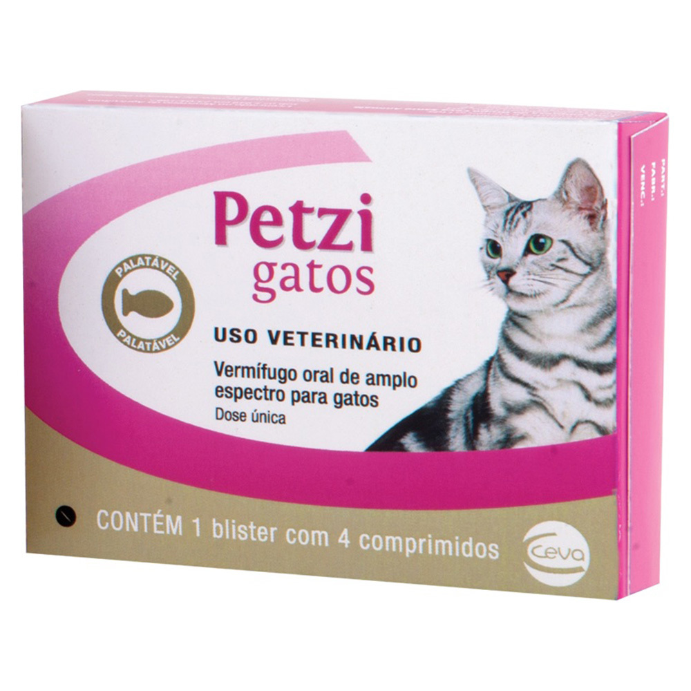 Vermifugo ceva petzi gatos 600mg com 4 comprimidos