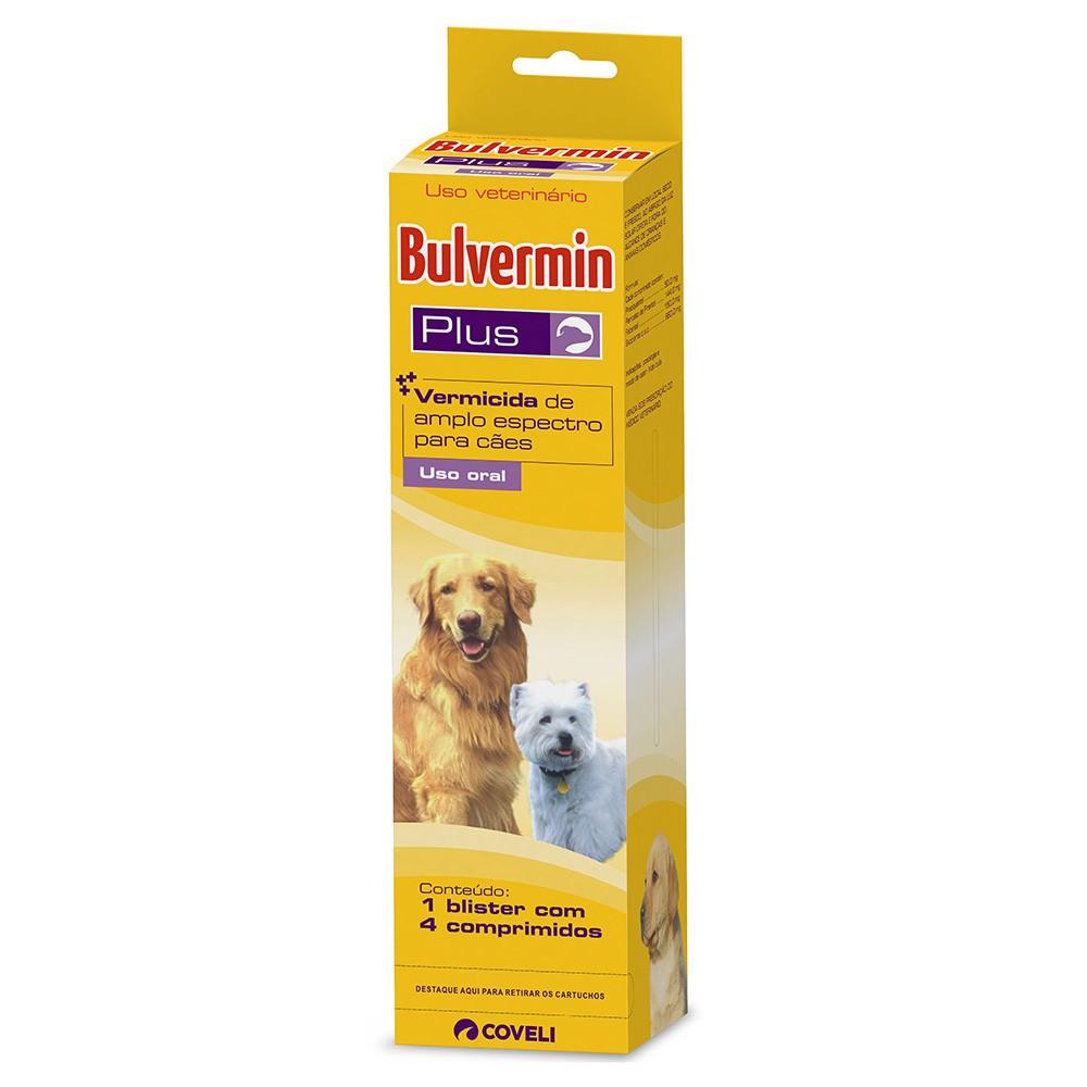 Vermífugo coveli bulvermim plus para cães com 4 comprimidos