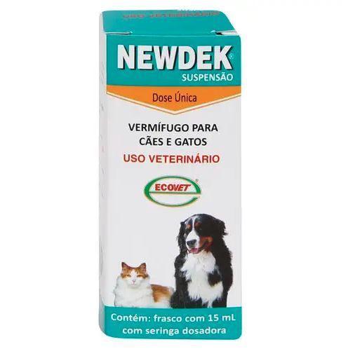 Vermífugo ecovet newdek suspensão 15ml para cães e gatos