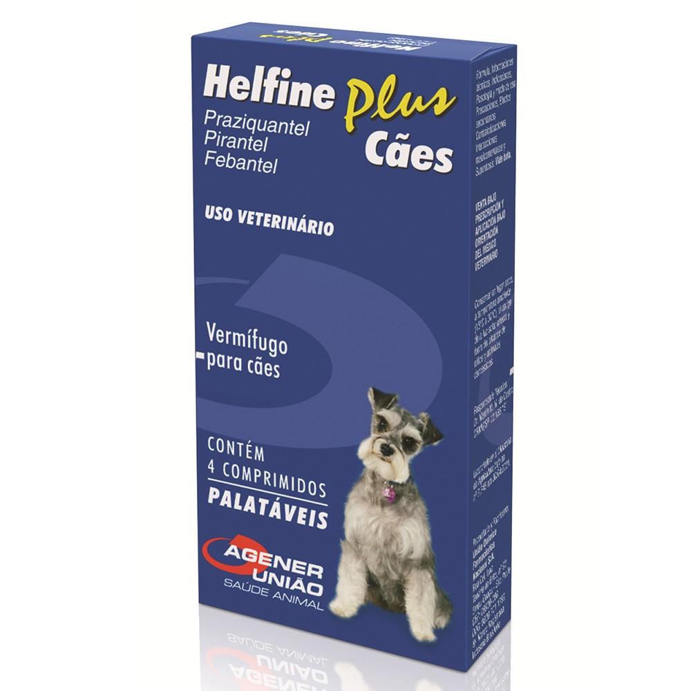 Vermífugo helfine plus para cães com 4 comprimidos