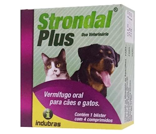 Vermífugo indubras strondal plus para cães e gatos