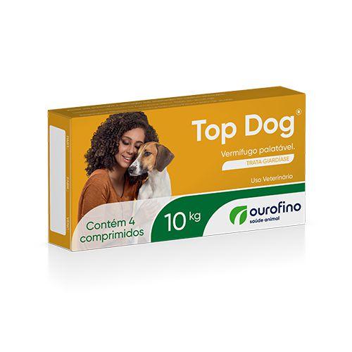 Vermifugo ouro fino top dog para cães de até 10kg com 4 comprimidos
