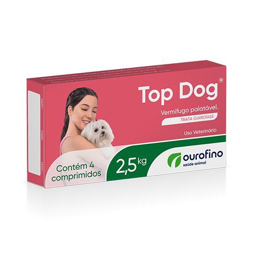 Vermifugo ouro fino top dog para cães de até 2.5kg com 4 comprimidos