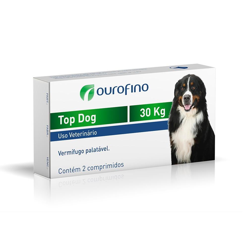 Vermifugo ouro fino top dog para cães de até 30kg com 2 comprimidos