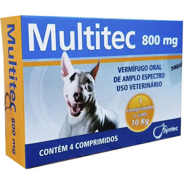 Vermífugo syntec multitec 1200mg para cães até 10kg