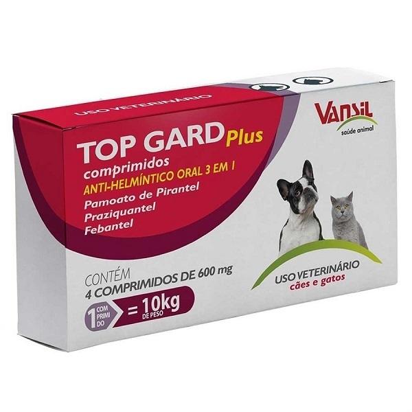 Vermífugo top gard plus 600mg com 4 comprimidos para cães e gatos