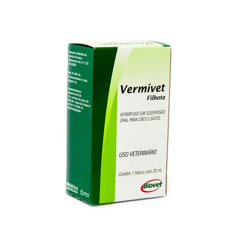 Vermífugo vermivet biovet 20ml para cães e gatos filhotes