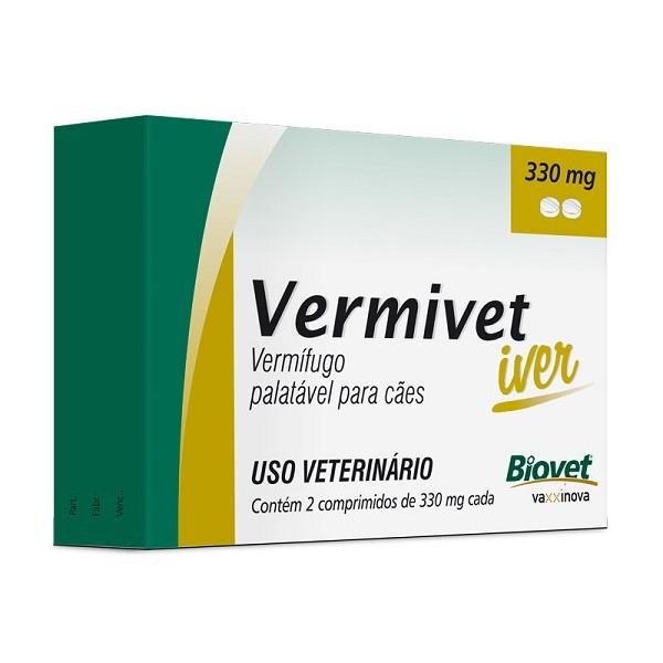 Vermífugo vermivet iver 330mg para cães com 2 comprimidos