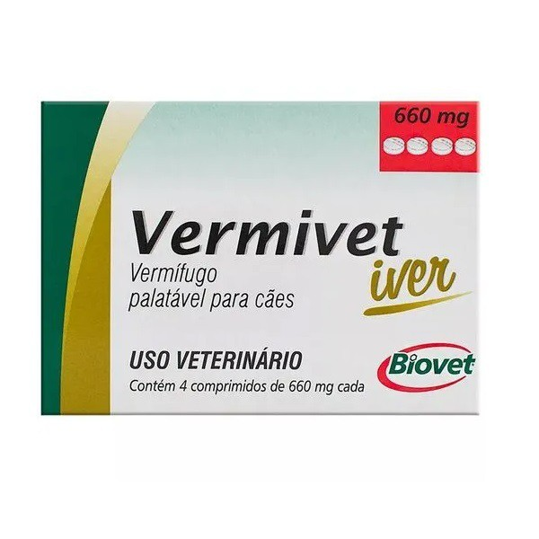 Vermífugo vermivet iver 660mg para cães com 4 comprimidos