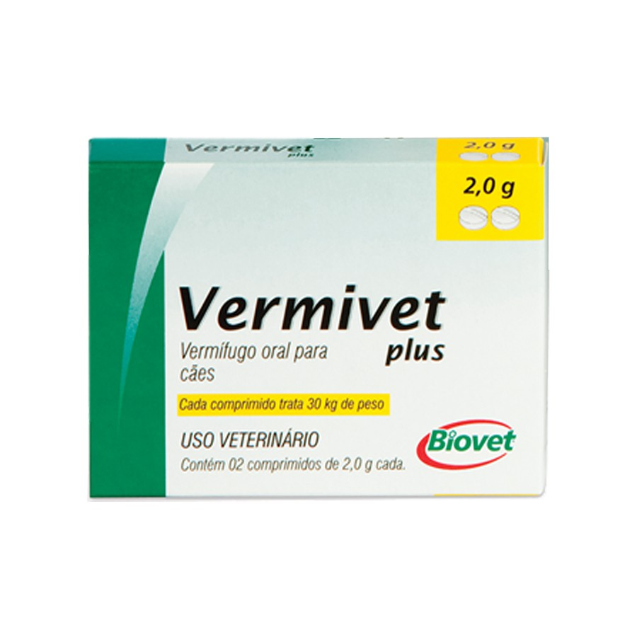 Vermífugo vermivet plus biovet 2g para cães com 2 comprimidos