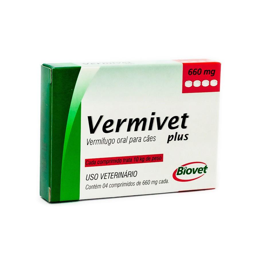 Vermífugo vermivet plus biovet 660mg para cães com 4 comprimidos