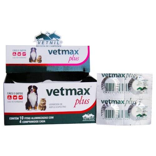 Vermífugo vetmax plus 700mg cartelado com 4 comprimidos