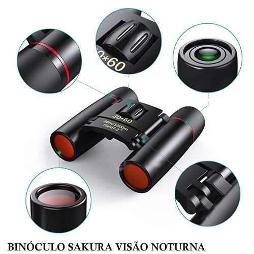 e7486f016 Binóculo Sakura 30x60 Visão Noturna Telescópio Zoom Óptico 126 m - 1000 m -  Pesca Gerais ...