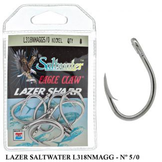 Anzol Eagle Claw Lazer Sharp Saltwater - L318NMAGG - 5/0 - Nickel