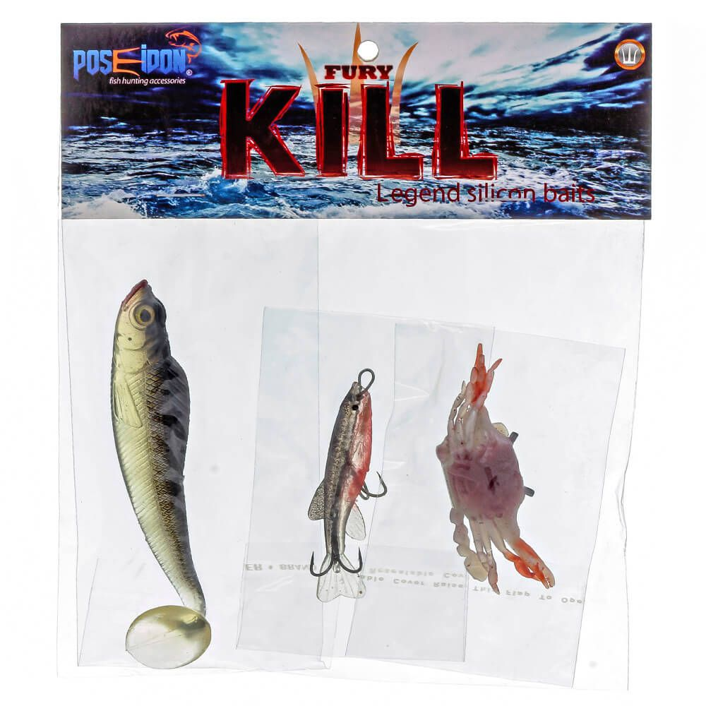 Isca Artificial Poseidon Fury Kill - Kit 03 unidades