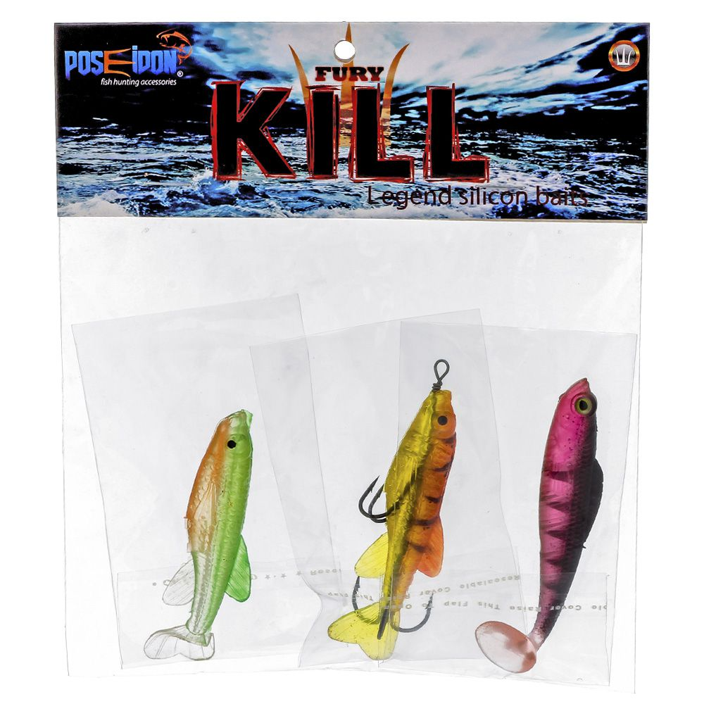 Isca Artificial Poseidon Fury Kill - Kit 03 unidades