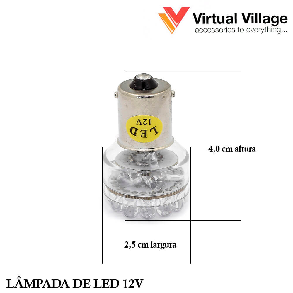 Lâmpadas 24 Led Automotiva 12v Soquete Base 69 Ba15s