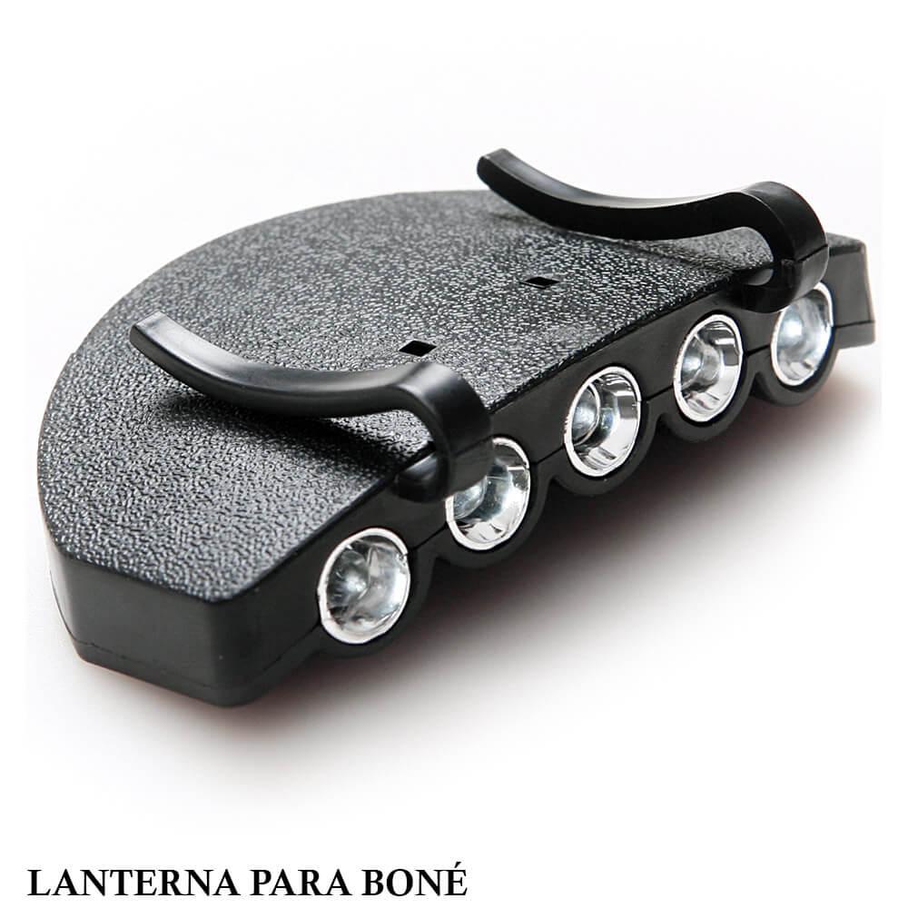 Lanterna com 5 Super Led para Boné e Chapéu - Fácil de usar