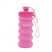 Garrafa Reutilizável de Silicone 400 Ml - Silicup Rosa
