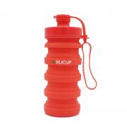Garrafa Reutilizável de Silicone 400 Ml - Silicup Vermelho