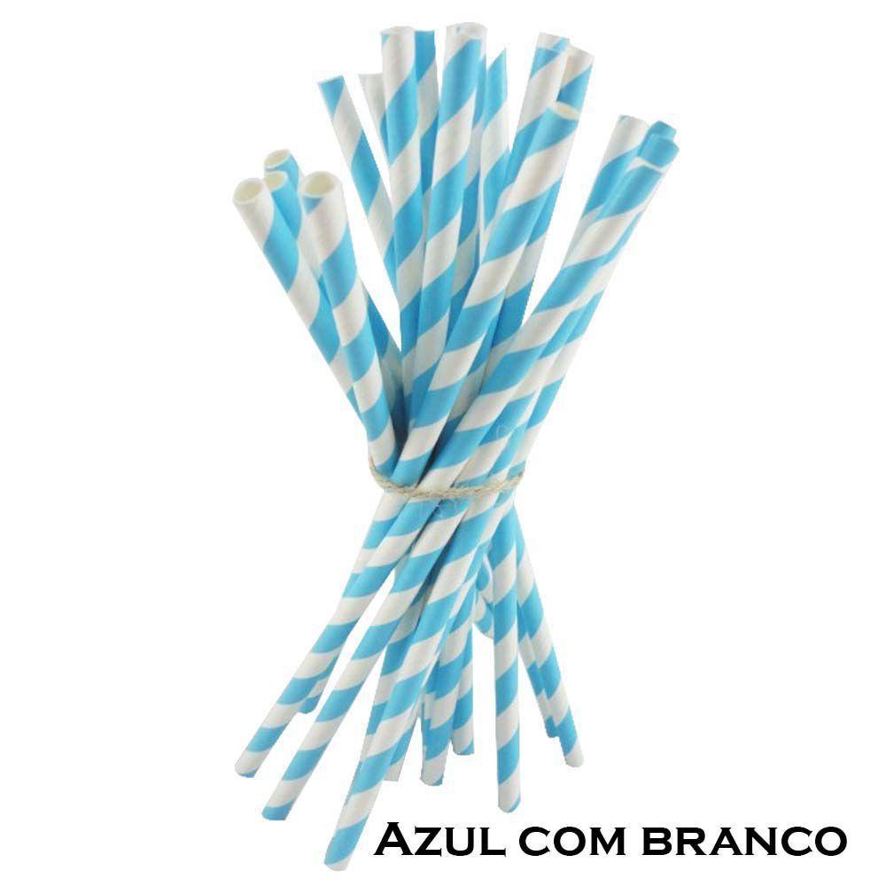 CANUDO PAPEL LISTRADO AZUL PACOTE COM 20 UNIDADES