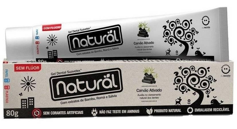 CREME DENTAL NATURAL COM CARVÃO ATIVADO - SUAVETEX
