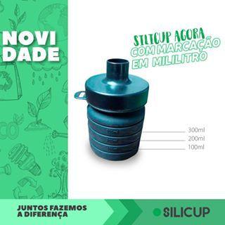 GARRAFA REUTILIZÁVEL DE SILICONE 400 ML - SILICUP PRETA