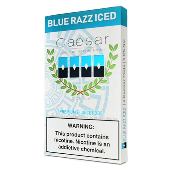 Blue Razz Iced by Caesar Pods Juul - 4PCS