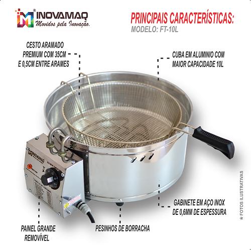 Fritadeira Elétrica 10 Litros Tacho Fritador Pastel - FT-10l - 127V - Inovamaq