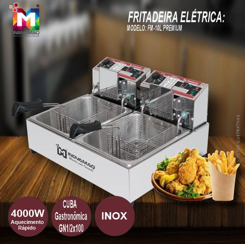Fritadeira Elétrica Profissional 2 cubas - FM-10L - 127V - Premium