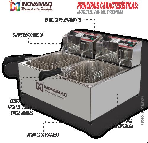 Fritadeira Elétrica Profissional 2 cubas - FM-15L - 127V - Premium