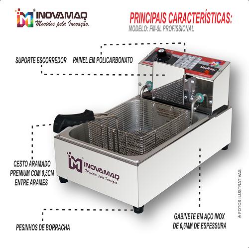 Fritadeira Elétrica Profissional - FM-5L - 220V - Inovamaq