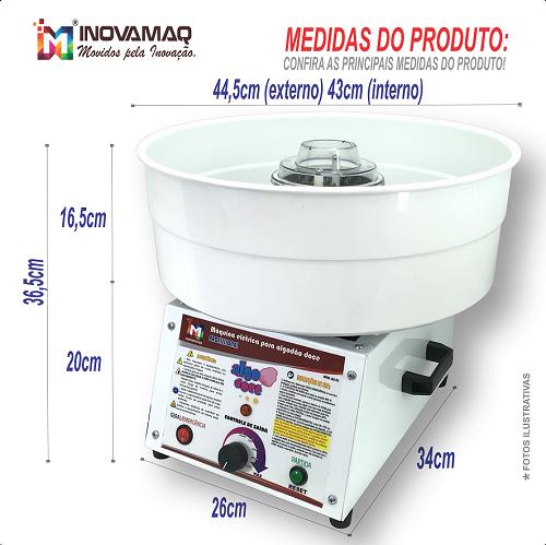 Máquina de Algodão Doce Profissional - AD-43 Branca - Inovamaq