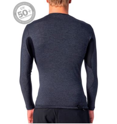 Camisa de Lycra Rip Curl Tech Bomb M/L Cinza Mescla