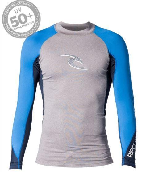 Camisa de Lycra Rip Curl Wave manga longa cinza/azul