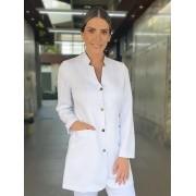 Jaleco Liliane Gabardine Branco - Gola Preta