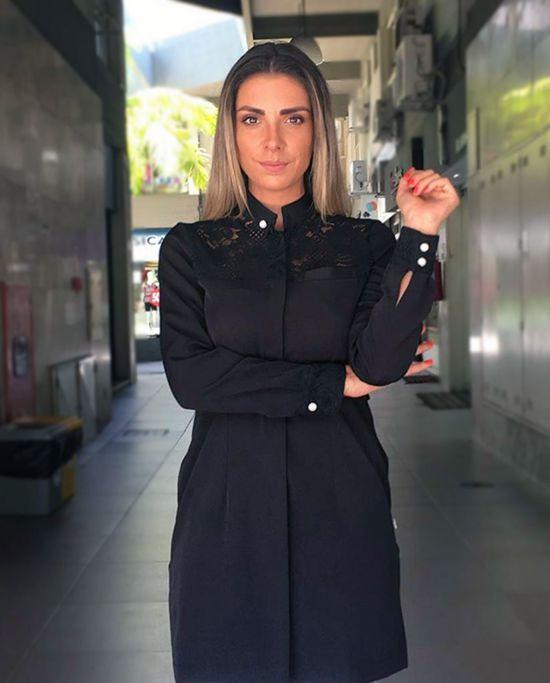 Jaleco Maria Antonia Gabardine - Preto
