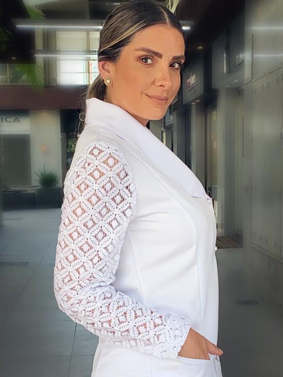 Jaleco Maria Clara Gabardine - Branco