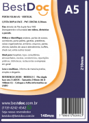 PORTA FOLHA A5 - VERTICAL  C/FITA DUPLA FACE - PVC CRISTAL 0,30mm - 10 UNIDADES