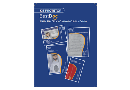 Pack Protetor com 4 Unidades CNH + RG + CRLV +  CARTÃO CRD E DEB