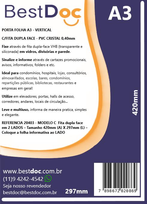 PORTA FOLHA A3 - VERTICAL  C/FITA DUPLA FACE - PVC CRISTAL 0,40mm-10 UNIDADES