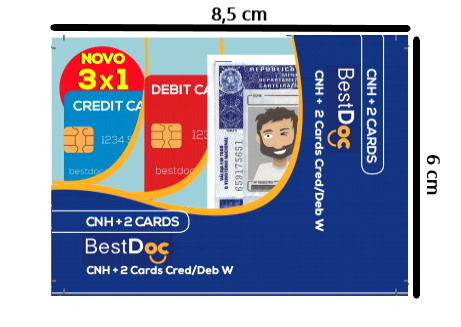 Protetor Combinado CNH + 2 CARD - 10 Peças