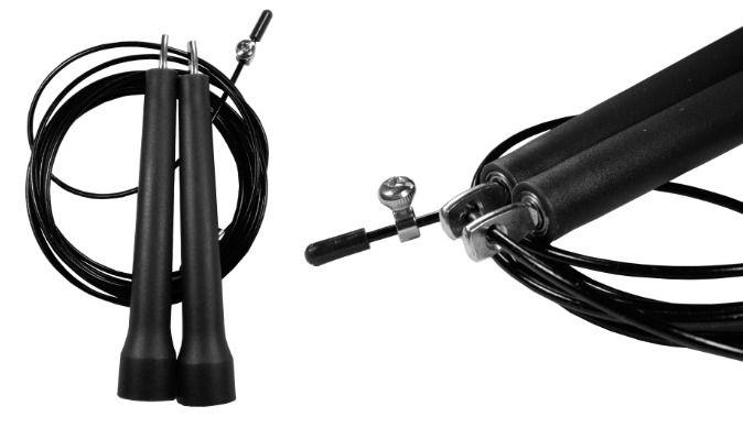 Corda De Pular Speed Rope 1 Rolamento / PVC Preto